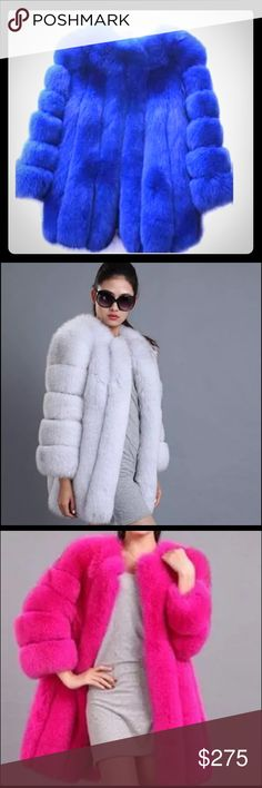 "KC CHAMPAGNE© 2015 Luxurious Faux Fox Fur Coat  KC CHAMPAGNE© Luxurious Faux FOX Fur Coat (Fall, 2016)✨FUN, Playful & Colorful Furs, Hats & SCARFS in MINK, RACCOON, FOX & RABBIT,. YOUR ""BOUTIQUE FUR"" YOUR Jeans  Jacket ✨Tailored, hand made from Genuine PELTS & Leather with SATIN LININGS✨(FAUX FURS AVAILABLE) Tailored Orders usually take 7-9 days to Export/Import from Tokyo✨ KC CHAMPAGNE Jackets & Coats"
