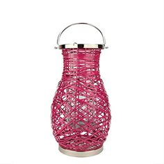 185 Modern Fuschia Pink Decorative Woven Iron Pillar Candle Lantern with Glass Hurricane ** Check out this great product.