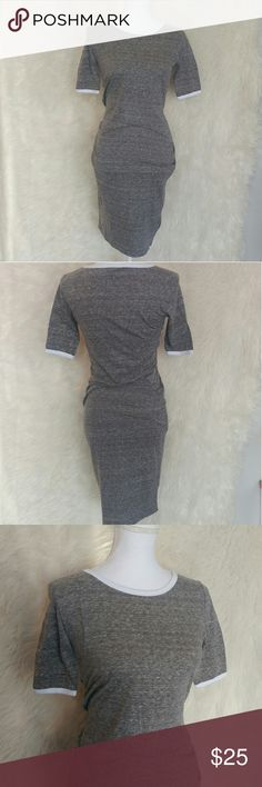 LuLaRoe Julia dress Like new condition dress by LuLaRoe Size XS Heather gray with white trim on neck and sleeves Excellent for dressing up or down LuLaRoe Dresses Midi