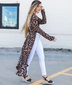 Essue Leopard Print Kimono - Women's Kimonos in Multi Leopard Blazer, Leopard Print Scarf, Leopard Prints, Casual Outfits, Summer Outfits, Sexy Outfits, Blazer With Jeans, Kimono Fashion, Cardigans For Women