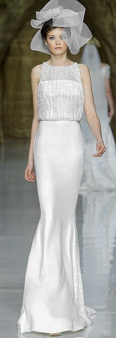 PRONOVIAS - SPRING 2014 I can do without the headpiece but this dress is so chic.