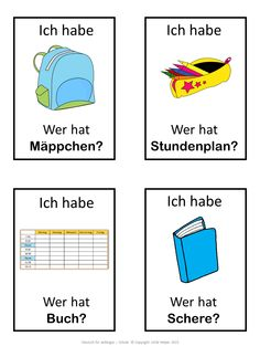 German game. German version of the I have ... Who has ...? game. This German game can be played to practice German school words. The game has 43 cards with a colorful frame and 43 cards with a simple black frame to save you ink.