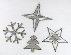 Barn Tin Snowflake Double Star Pine Tree Four Point by ssletters