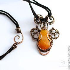 Купить Кулон с агатом Вены дракона wire wrap - оранжевый, кулон, Кулон ручной работы