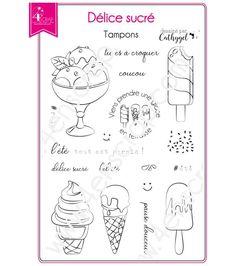 Tampon transparent Scrapbooking Carterie glace dessert été - Délice sucré #4enscrap Tampon Scrapbooking, Mini Albums Scrapbook, Tampons Transparents, Dessert, Mojito, Words, Journal, Emboss, Ink Stamps