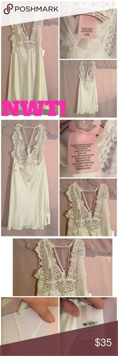 "NWT! VICTORIA'S SECRET ""I DO"" WEDDING LINGERIE ⭐BRAND NEW W/ALL TAGS!⭐Including the attached VS gray/white ""I do"" gift card-see pic #3, which shows the card that you sign when giving this as a wedding shower gift. Absolutely gorgeous white lacy front w/an adjustable racer back-see pic #2. Has a beautiful leg slit as well. Victoria's Secret Intimates & Sleepwear Pajamas"