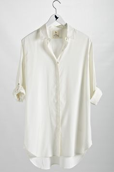 The #MiHJeans Oversize Shirt in Silk Cotton. Perfect white button up I've been looking for.