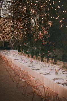 Fairy Light Canopy & Chandelier Table Plan for a Stylish Spanish Wedding (Rock My Wedding) Simple Wedding Arch, Wedding Arch Rustic, Light Canopy, Canopy Lights, Wedding Flower Decorations, Wedding Themes, Wedding Ideas, Wedding Film, Our Wedding