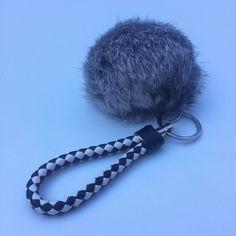22.95$  Buy now - http://vixnf.justgood.pw/vig/item.php?t=ifegf93278 - Car keychain fur pom pom puff ball bag rabbit key chain charm silver hardware 2