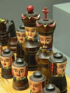 Chess Set Ecuador Painted Tagua Palm Nut 19th century CE