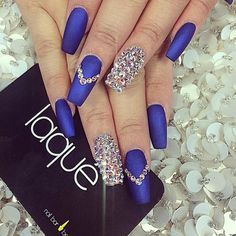 Matte navy blue nails with crystals Blinged nails