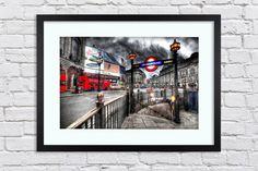 London Photography - Piccadilly Underground Sign - Large Mounted & Framed Poster Art Print A2 - 31 x 24 Inches  ( 75 x 61 cm ) by TheRedbusGallery on Etsy https://www.etsy.com/uk/listing/275725822/london-photography-piccadilly