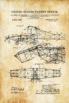 Alexander Bell Flying Machine Patent - Airplane Blueprint Vintage Aviation Art Airplane Art Pilot Gift Aircraft Decor by PatentsAsPrints Pilot Gifts, Air Festival, Airplane Art, Patent Drawing, Vintage Airplanes, Women In History, Ancient History, Patent Prints, Technical Drawing