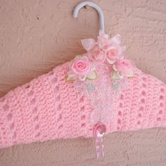 Dress Clothes Lingerie Hanger Crochet padded satin handm Shabby chic   | Myeuropeantouch - Crochet on ArtFire