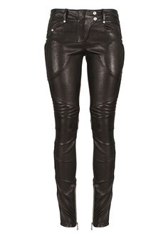 Balmain Pants :: Balmain black leather biker pants | Montaigne Market