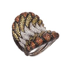 Salavetti 18K White Gold Abstract Ring With Orange Sapphires  Diamonds (=)