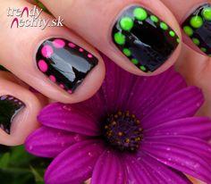 Black nail polish, neon dots, nail art