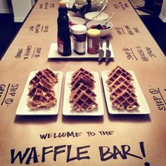 @Vicky Lee L. Wedding Idea ?brunch party idea - waffle bar! love the craft paper table covering + labels.  Would be great for a brunch!