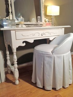STUNNING Antique Vanity Dresser Dressing Table and Mirror- SHABBY CHIC Bedroom - Distressed White Paint  A beautiful and unique shabby chic vanity for your romantic home! Solid wood professionally painted in a nice white with light distressing OH SO PRETTY. Perfect makeup table in your shabby chic style French cottage country, Paris apartment bedroom! One of a kind antique!