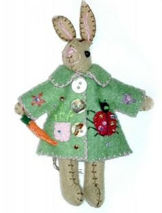 5″ Bunny Rabbit in Ladybug Green Coat Hand Stitched Handmade Wool Felt Applique Ornament Plush Doll | Little Handcrafts