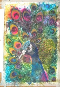 I have fallen in love with peacock art! I think peacocks are the most beautiful bird ever!