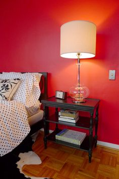 Red Wall Bedroom in Chicago. By Interior Design Firm MatterAndOrder.com