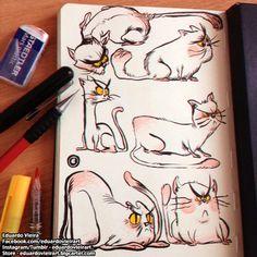 Cute cat illustrations by Eduardo Vieira.