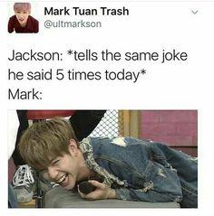 Jackson: *tells the same joke he said 5 times today* Mark: - iFunny :) Bts E Got7, Got7 Meme, Got7 Funny, Funny Kpop Memes, Hilarious, Kdrama Memes, K Pop, Girls Girls Girls, Got7 Jackson