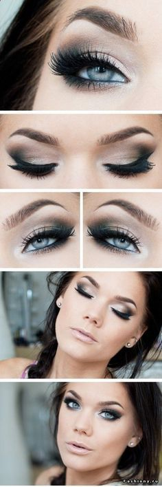 dark smokey eye for blue eyes! If I were to match the colors here I would use #MAC: Ploof on lid, inner, and brow bone; wedge or cork slightly on mid crease; and carbon on v crease. as