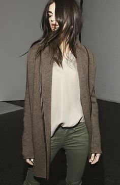 Vince Leather Trim Blanket Sweater | Nordstrom  This comes in a beautiful dark grey (heather carbon) online.