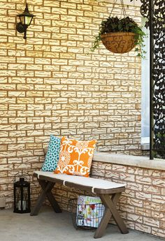 Bench on front porch cute idea!
