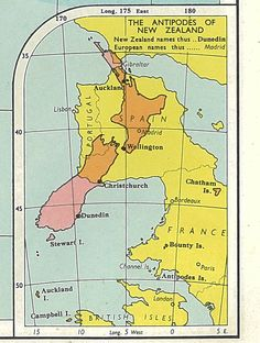 Map: Antipodes of New Zealand