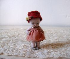 Tiny Bisque Antique German Flapper Girl Doll by Somethingcharming, $59.00