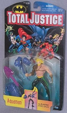 "TOTAL JUSTICE LEAGUE BATMAN:AQUAMAN ACTION FIGURE by KENNER. $3.00. Very Collectible. With Blasting Hydro Spear. Issued in 1996. Born in the underwater world of Atlantis, Arthur Curry leads a dual life as Aquaman, protector of the world's oceans. He is able to ""breathe"" water, swim at speeds up to 100 MPH, and communicate with most sea life. Though his strength diminishes after prolonged exposure out of water, Aquaman's Fractal Techgear allows him to remain on land and battle vil..."