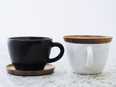 Love this Swedish Coffee cups with a wooden lid/saucer! Höganäs Coffee Cup
