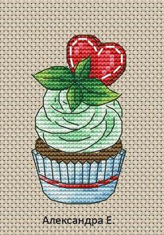Alexandra E.-Cupcake S Serdcem Cupcake Cross Stitch, Cross Stitch Fruit, Small Cross Stitch, Cross Stitch Kitchen, Cross Stitch Needles, Cross Stitch Designs, Cross Stitch Patterns, Cross Stitching, Cross Stitch Embroidery