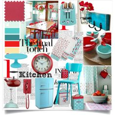 """""""Retro Kitchen - Aqua and Red"""" by lidia-solymosi on Polyvore"""