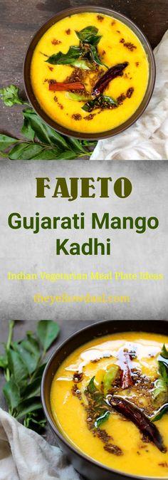 Fajeto Recipe, Gujrati Mango Kadhi Recipe - THEYELLOWDAAL Jain Recipes, Gujarati Recipes, Veg Recipes, Curry Recipes, Lunch Recipes, Vegetarian Recipes, Cooking Recipes, Healthy Recipes, Vegetarian Lunch