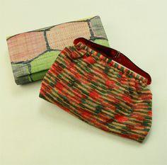 Nitt and kikkou pattern bag set / 普段使いに 多色 ニットのバッグと亀甲柄のクラッチバッグセット