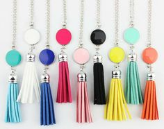 Long Tassel Earrings, Fish Hook Earrings, Long Pendant Necklace, Diy Necklace, Silver Necklaces, Tassel Necklace, Fashion Necklace, College Gifts, Grad Gifts