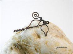Brosche Blätter Kupfer Kupfer Pin Draht gewickelt Schmuck