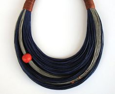 Blue Grey and Cinnamon Statement Necklace by superlittlecute, $53.00