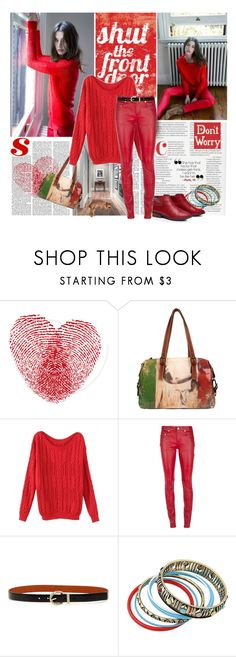"""""""Red on Red"""" by lavendergal ❤ liked on Polyvore featuring FingerPrint Jewellry, Fanara, Yves Saint Laurent, Anne Klein and BlackFive"""