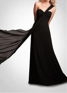 Stunning  One Shoulder Full-length Black Bridesmaid Dress