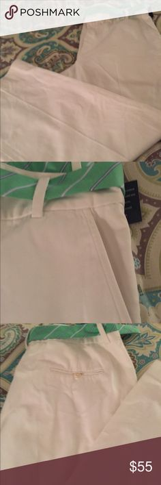 White cotton pants Ralph Lauren white cotton pants, with a lime green striped cotton  belt. Has gold loops on belt W/ RL embellishment on the rings! Brand new w/ tags! Very stylish... Lauren Ralph Lauren Pants Trousers