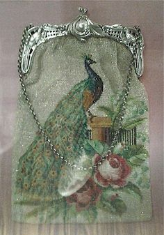 Edwardian beaded Peacock and Rose purse.
