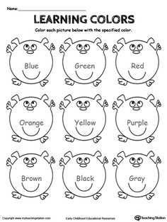 **FREE** Learning Basic Colors Worksheet. Practice learning the basic colors: blue, green, red, orange, brown, black, gray, yellow and purple by coloring the pictures based on the color name.