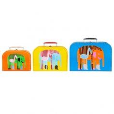 Marimekko: Karkuteillä suitcases by Maija Louekari Marimekko, Elephant Love, Giraffe, Elephants, Cardboard Suitcase, Scandinavia Design, Suitcase Set, Kids Room Design, Cool Baby Stuff