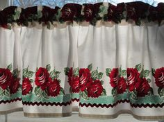 Red and Turquoise Retro Curtain Valance -  New Fabric 53 x 14