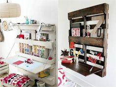 bureau en bois escamotable avec un espace de rangement